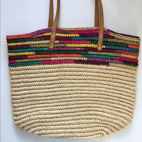 Merona Summer Straw Multi Colored Tote. M 5ab853541dffda6d06e01455. Other  Bags ... fdba26adeaf78
